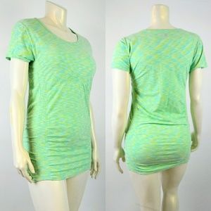 ATHLETA XL Yellow Green Yoga/ Gym Blouse Stretch